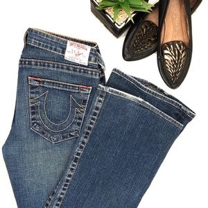 "True Religion ""Bobby"" Blue Wash Semi-Flare Jeans"